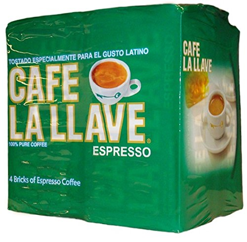 Caf La Llave Espresso, Fine Grind, 100% Pure Coffee, Dark Roast, Rich and Aromatic, 4, 10-Ounce Bricks