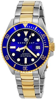 """Henry Jay Mens 23K Gold Plated Two Tone Stainless Steel""""Specialty Aquamaster"""" Professional Dive Watch with Date"""