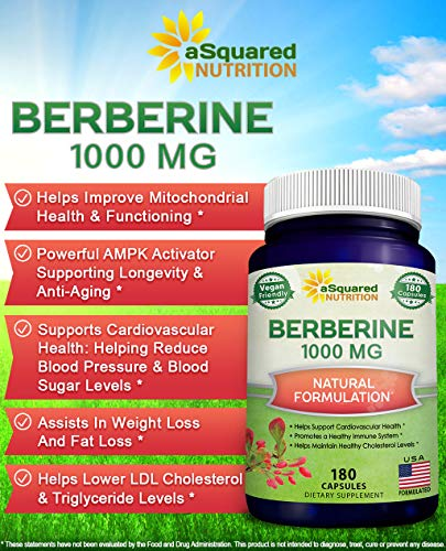 Pure Berberine 1000mg Supplement - 180 Veggie Capsules, Natural Berberine Hydrochloride HCL Plus, Max Strength 1000 mg (2X 500mg), Potent Vegan Extract for Healthy Blood Sugar Levels & Blood Glucose 9