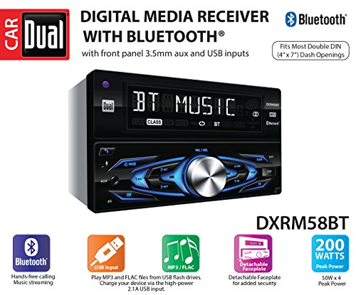 Dual Electronics DXRM58BT Multimedia Detachable 8 Character LCD Double Din Car Stereo with Built- in Bluetooth, USB, MP3 & FLAC Playback