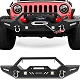 OEDRO Front Bumper, Compatible for 2007-2018 Jeep Wrangler JK & Unlimited, Rock Crawler Bumper with Winch Plate Mounting & 4 x LED Lights & 2 x D-Rings Off Road