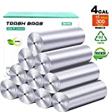 4 Gallon 300 Counts Strong Small Trash Bags, Garbage Bags Wastebasket Bin Liners, Plastic Trash Bags for Bathroom Bedroom Office Trash Can - Nordic Macaron Grey Colors