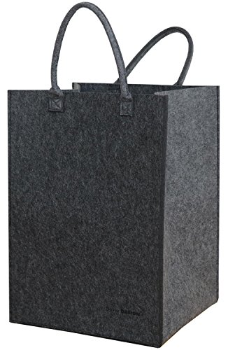 DuneDesign 100 Liter Filz Wäschekorb zum Tragen - Faltbar - 60 cm hoch - XL Wäschesammler in Grau