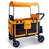 WONDERFOLD W4 4 Seater Multi-Function Quad Stroller Wagon with Removable Raised Seats and Slidable Canopy, Orange