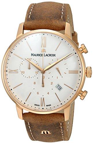 Maurice Lacroix Herren analog Swiss Quartz Uhr mit Leder Armband EL1098-PVP01-113-1