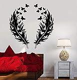 Etiqueta engomada de la pared del vinilo de la pluma de la mariposa Etiqueta engomada de la pared bohemia del romance del amor