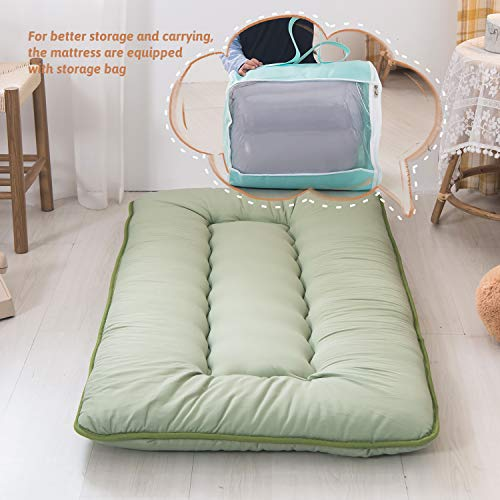 Product Image 7: YOSHOOT Portable Toddler Travel Bed, Kids Memory Foam Floor Mattress Bed Foldable, Mattress for Toddler, Portable Travel Mattress Camp Mattress Tatami Mat, with Mattress Cover and Carry Storage Bag