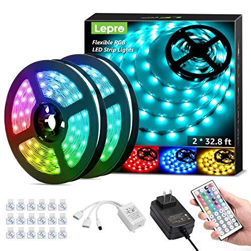Lepro 65.6ft LED Strip Lights, Ultra-Long RGB 5050 LED Strips...