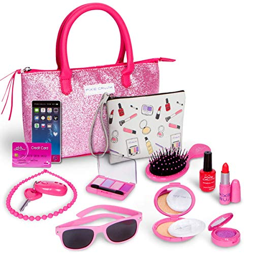 51nFFpdptDL PLAY MAKEUP TOY PURSE SET. Pixie Crush Pretend Purse Set is a fake pretend makeup set that does not apply to skin which encourages imagination and creative play. My First Purse Toy for Toddler Gifts Including Pink Princess Purse MY TOY PURSE PLAYSET INCLUDES: A brush, keys with alarm FOB, necklace, pretend phone, red nail polish, a compact with shatterproof mirror and a puff, a red lipstick, and a credit card, pink eyeshadow, sunglasses, cosmetic makeup bag, and purple sparkle glitter pot. Teach your girls about little cosmetics and the specific purpose of each product. All of the cosmetic products come in an adorable pink glitter sparkle purse. PROMOTE INTERACTION & IMAGINATIVE PLAY: This educational makeup playset will engage your little ones in imaginative and learning pretend play. Let your child actively experiment with various social and emotional roles of life. Promote cooperative play, teach them how to take turns, share responsibility, and achieve creative problem-solving.