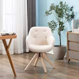 KINWELL Swivel Armchair Contemporary Fabric Accent Chair Dining Chair Tufted Back with Sturdy Oak Wood Legs for Small Space Home Office Slim Adult, Beige