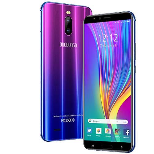 Smartphone Offre du Jour 4G, 6.0' HD+ Android 9.0 3 Go RAM + 16 Go ROM/128 Go TF Téléphones Offerte 4800 mAh Dual SIM 8 Mpx Appareil photo Face ID Téléphone mobile Duogo J6+ (Violet)