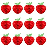 12PCS 7' Honeycomb Tissue Paper Apples Hanging Decor Back to School Decorations - First Day of School Party Decorations - Welcome Back to School Apple Themed Baby Shower Birthday Fall Party Decor