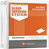 HOSPITOLOGY PRODUCTS Zippered Mattress Encasement - Sleep Defense System - Queen - Waterproof - Stretchable - Standard 12' Depth - 60' W x 80' L