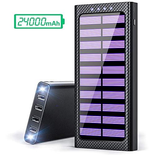 Gnceei Power Bank 24000mAh Caricabatterie Portatile Solare Powerbank, 5.8A 4 Porte USB Batteria...