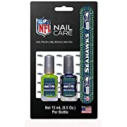 "Nfl Seattle Seahawks nail care set with 2 nail Polish, nail Decals (Sticker), nail file. 2 team-themed nail polish bottles, long-lasting formula. Nail Decals are Stickers (more simple to Use than ""water slide"" Decals). trim Sticker to fit nail. Nail ..."