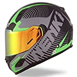 NENKI Full Face Street Bike Motorcycle Helmets DOT Approved With Iridium Red Visor and Inner Sun Shield (M, Matt Black & Green)
