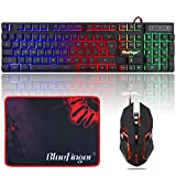 RGB Gaming Keyboard and Backlit Mouse Combo,BlueFinger USB Wired Backlit Keyboard,LED Gaming Keyboard Mouse Set for Laptop PC Computer Game and Work