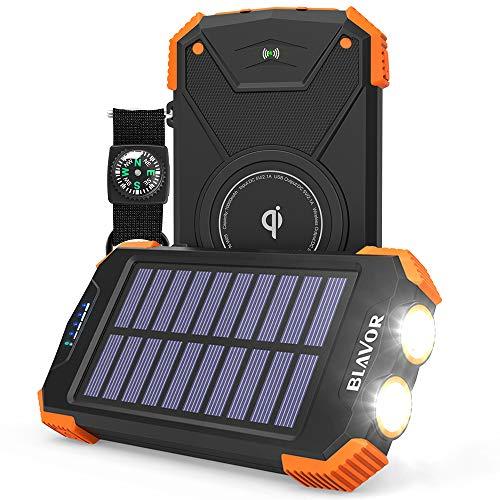 Solar Power Bank, Qi Portable Charger 10,000mAh External Battery...