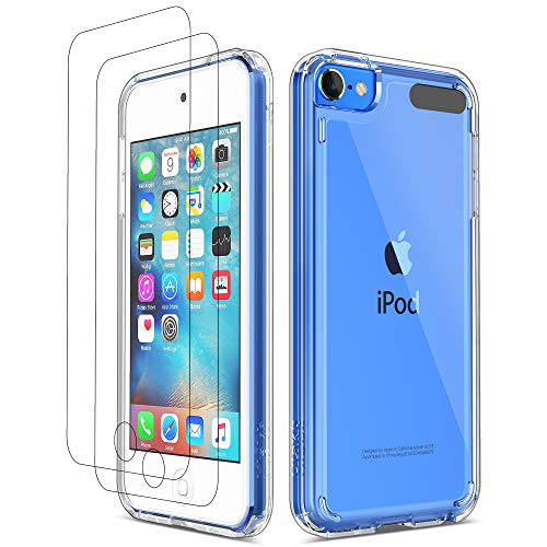 ULAK iPod Touch 7 Case, iPod Touch 6 5 Case with 2 Screen Protectors, Clear Slim Soft TPU Bumper Hard Case for Apple iPod Touch 5 / 6th / 7th Generation (Latest Model 2019 Released), Clear