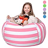 WEKAPO Stuffed Animal Storage Bean Bag Chair Cover for Kids | Stuffable Zipper Beanbag for Organizing Children Plush Toys | 38' Extra Large Premium Cotton Canvas …