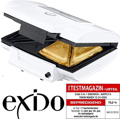 Exido 12240006 Design Multi-Toaster 3in1 (Sandwichmaker-Kontaktgrill-Belgischer Waffelmaker)