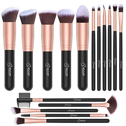 Set de brochas de maquillaje profesional BESTOPE 16 piezas Pinceles de maquillaje Set...