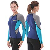 GoldFin Womens Wetsuit Top, 2mm Neoprene Wetsuit Jacket Long Sleeve Front Zip Wetsuit Shirt for Swimming Water Aerobics Diving Surfing Kayaking (Navy, L)