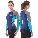 GoldFin Women's Wetsuit Top, 2mm Neoprene Wetsuit Jacket Long Sleeve Front Zip Wetsuit Shirt for Swimming Water Aerobics Diving Surfing Kayaking (Navy, L)