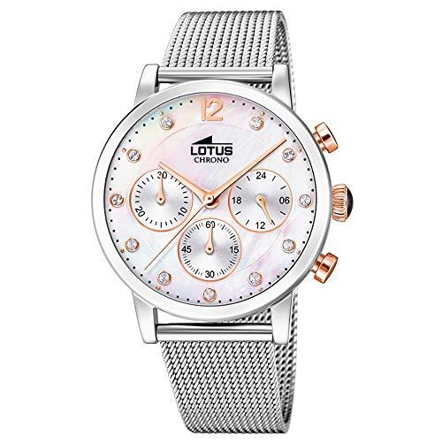Lotus Damen Chronograph Quarz Uhr mit Edelstahl Armband 18676/1