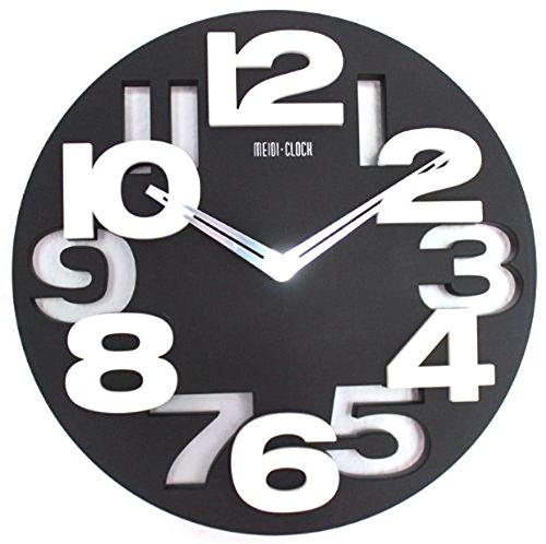 Design moderno orologio da parete da cucina Baduhr office Clock decorazione silenziosa LKU-nero,...