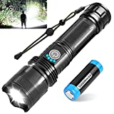 BERCOL Led Rechargeable Tactical Flashlight, 10000 High Lumen Super Bright Flash Light with Battery, 5 Modes, Zoomable, Waterproof Handheld Flashlight with Power Display for Camping or Emergencies