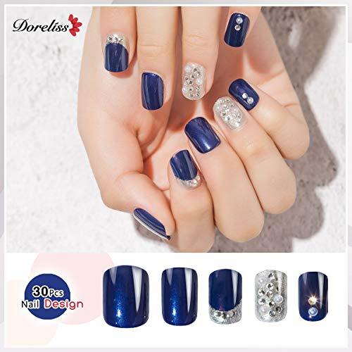Doreliss False Nails, Press On Nails, 30 Pcs Full Cover 3D Bling Glitter Crystals Square Fake Nails, Reusable Nails with nail tapes Navy Blue for Women and Girls DIY Art Nails