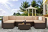 U-MAX 7 Piece Outdoor Patio Furniture Set, PE Rattan Wicker Sofa Set, Outdoor Sectional Furniture Chair Set with Khaki Cushions and Tea Table, Brown