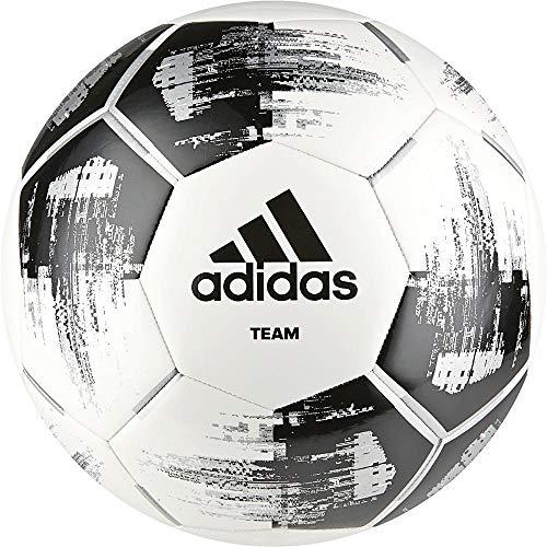 adidas Team Glider Fußball, White/Black/Silver Metallic, 5