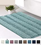 Striped Luxury Chenille Bathroom Rug Mat 20x32 Inch Extra Soft and Absorbent Shaggy Rugs Dry Quickly Plush Rug Carpet for Tub/Toilet/Shower Machine Washable, Duck Egg Blue