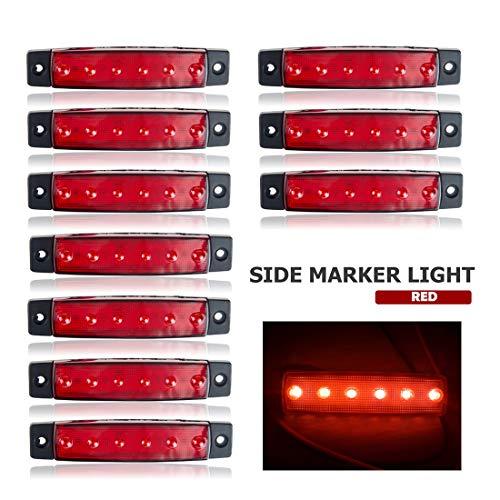 VIGORFLYRUN PARTS LTD 10x 3.8 6 LED Luce Laterale da Camion Indicatore LED Lampada di Posizione, per 24V Rimorchio Camion Furgone Rimorchi Auto Trattore Camper SUV - Rosso