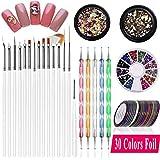 30 cinta de tiras y 15 pinceles para decoración de uñas, 5 bolígrafos y 3 piezas 3D