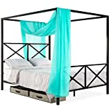 Best Choice Products 4-Post Queen Size Modern Metal Canopy Bed w/Mattress Support, Built-in Headboard, Footboard, Classic, Customizable Design - Black