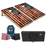 Tailgating Pros Cornhole Boards - 4'x2' & 3'x2' Cornhole Game w/Carrying Case & Set of 8 Corn Hole Bean Bags w/Tote (4'x2' Distressed w/ Built-in Frame LED Lights)