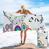 Lawenp Toalla de Playa de Secado rápido, Notas Musicales en Microfibra con Estampado de Colores del arcoíris Toallas de baño Ligeras súper absorbentes para niños y Adultos 27.5 'X55'