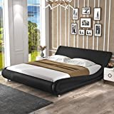 SHA CERLIN Queen Size Bed Frame, Upholstered Faux Leather Low Profile Sleigh Platform Bed with Adjustable Headboard, with Wood Slats,Black