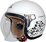 ダムトラックス(DAMMTRAX) バイクヘルメット ジェット CARINA (カリーナ) WHITE-PANDA (ホワイト・パンダ) レディースフリー (57~58cm) -