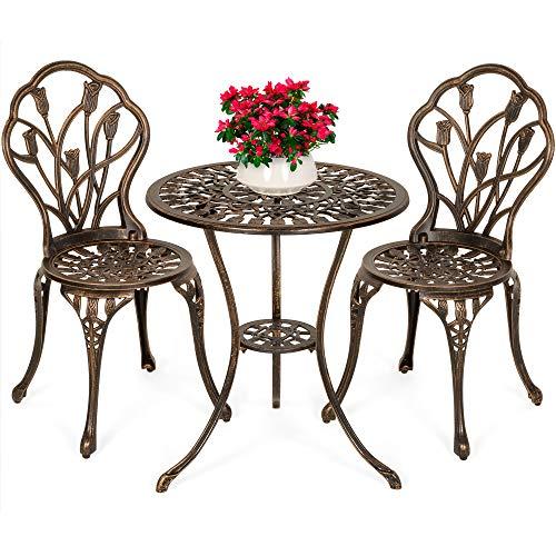Best Choice Products 3-Piece Cast Aluminum Patio Bistro Furniture Set w/Antique Copper Finish