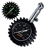 Summit Tools Tire Pressure Gauge with Glow Dial, 0 to 60 PSI, Hold Valve, 10 in. Flexible Hose, Pressure Bleeding Button, Rubber Head Cover. Automobile Accessory