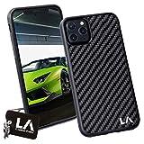 LA Carbon Fibre Carcasa de Fibra de Carbono Original para iPhone 11 Pro MAX (Negro)