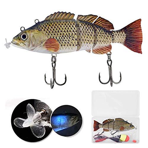 Esca da pesca elettrica con lampada a LED, pesca robotica da pesca Esche elettriche a 4 segmenti Swimbait USB ricaricabile Crankbait Esca Esca da pesca Esca