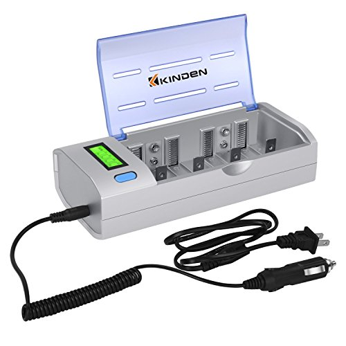 Kinden Batteries Charger with Car Charging Port for AA AAA C D 9V Ni-MH Ni-CD with LCD Display and Discharge Functions
