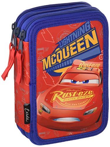 Disney Cars Saetta McQueen - Astuccio Triplo, 3 Scomparti, Pennarelli, Pastelli, Accessori Scuola 42...