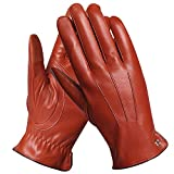 Elma Men's Touchscreen Texting Winter Italian Nappa Leather Gloves Cashmere Lining (8.5, Saddle)