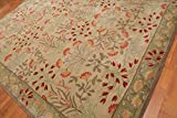 Old Hand Made Floral Bleige Tulips Traditional Persian Oriental Woolen Area Rugs (5'x8')